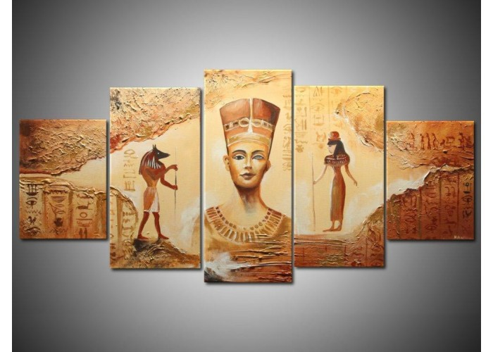 Handmade 5 Piece Contemporary Abstract Decorative Oil Painting On Canvas Wall Art Egyptian Picture For Living Room Free Shipping