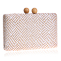 Knitted Fashion Women Evening Bags Metal Wooden Hollow Out Design Day Clutches Purse Evening Bags