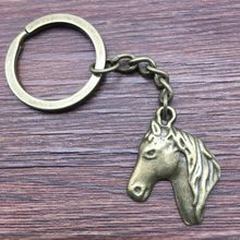 Keyring Horse Head Keychain 28x22mm Antique Bronze New Fashion Handmade Metal KeyChain Souvenir Gifts For Women A11137(China)