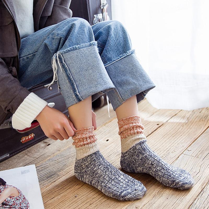 Socks Women Cotton Three-color Stitching Keep Warm Socks Breathable Comfortable Casual Girl Mid Socks