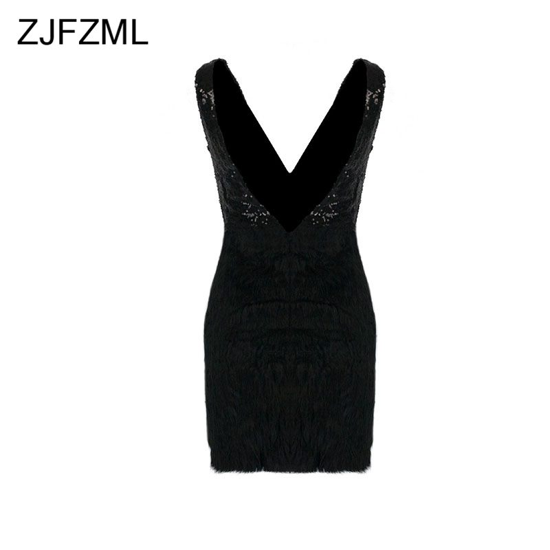 ZJFZML Sequins Dress Women Summer Sexy Backless Feather Embellished Mini Dress Evening Party V Neck Ball Gown Women Robe in Dresses from Women 39 s Clothing