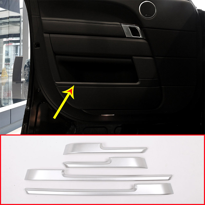 4pcs For Land rover Range Rover Vogue L405 2013-2017 Black Glossy Car ABS Chrome Interior Door Decoration Strip Trim Accessories 4pcs set car interior accessories side door molding trim for land rover range rover sport 2014 2015 2016 2017 styling abs chrome