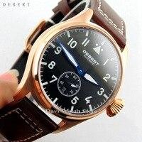 Debert 42mm Black Dial Green Luminous Sapphire Glass Automatic Date Day mens Watch