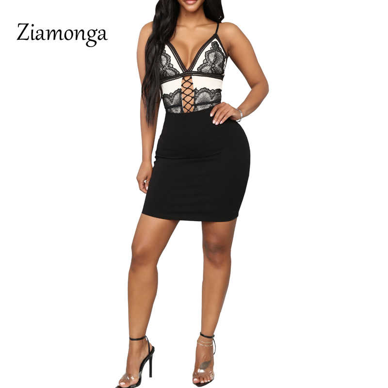 a782001d5 ... Ziamonga Sexy Black Lace Bodysuit Women Tops Transparent Summer  Jumpsuit Romper Fitness V Neck Hollow Out ...