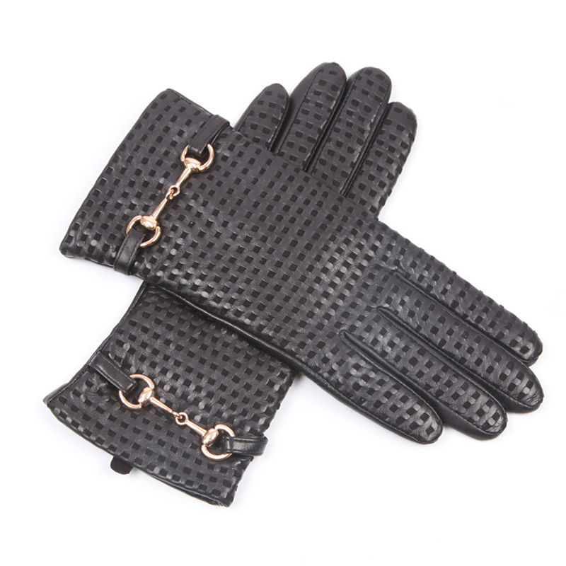 Autumn Winter Woman Genuine Leather Gloves Imported Sheepskin Wool Lined Fashion Metal Button Driving Female Mittens