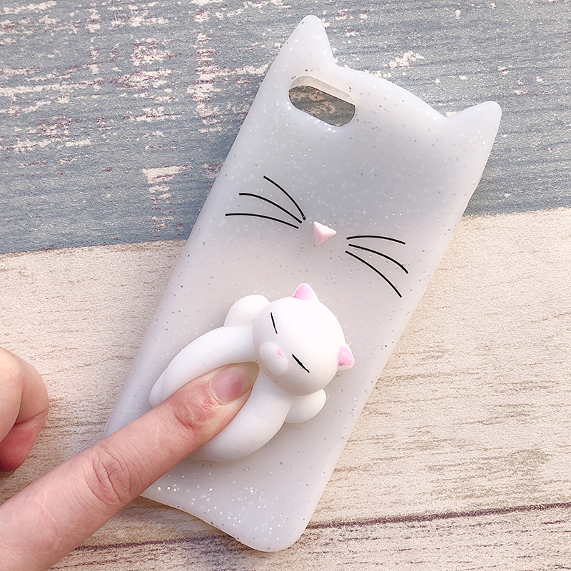 3D Cute Japan Glitter Bearded Cat Case For iphone 5 5S SE X Squishy Cat Cases For iphone 7 8 6 6S Plus Silicone Mobile Phone Bag (15)