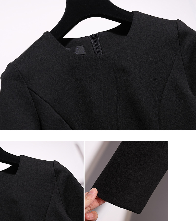 Femmes Manches Office Simple Robes Mi À Conception Robe Lady Solide Taille Cou Casual Z786 Little O Black Longues Couleur Y4w5F4