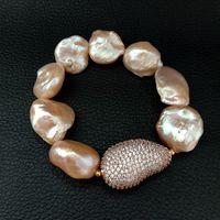 18x23MM 8'' Pink Keshi Pearl Stretch Bracelet CZ Connector
