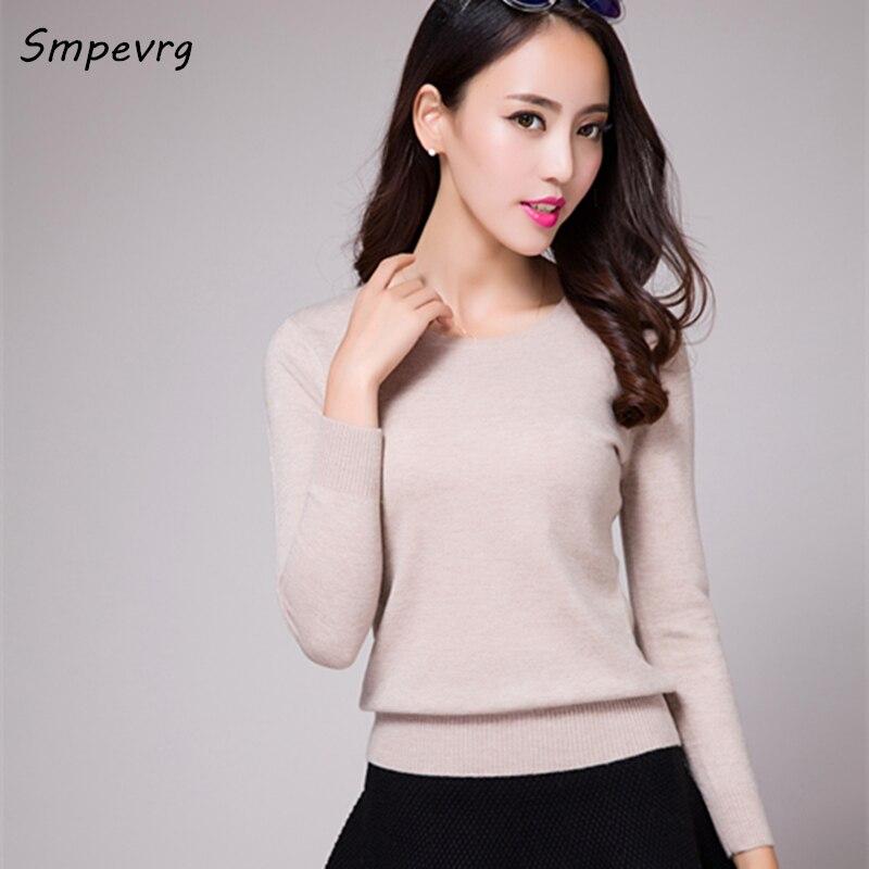 Smpevrg cashmere otoño suéter de las mujeres jerseys moda o-cuello delgado camis