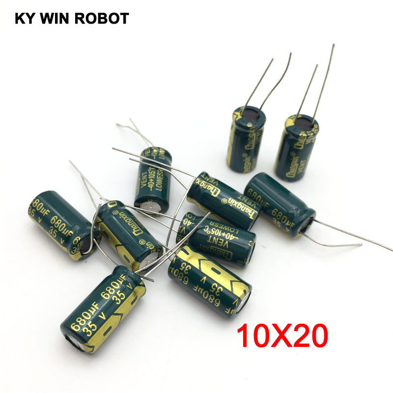 10 pcs Aluminum electrolytic capacitor 680 uF 35 V 10 * 20 mm frekuensi tinggi Radial Electrolytic kapasitor-in Capacitors from Electronic Components & Supplies
