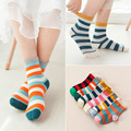Autumn Kids Short Socks Colorful Gradient Children Socks for Boys Girls Kids Striped Socks School Baby Cute Crew Sox Brand 1-10Y