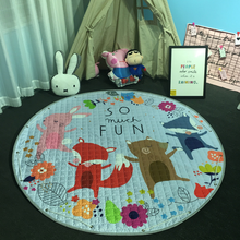 150CM Cartoon Animals Fox Sheep Rabbit Owl Baby Play Mats Child Crawling Blanket Carpet Toys Storage Bag Nordic Kids Room Decor
