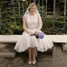 vestidos de novia New Fashion Applique Mid-Calf Beach Short Wedding Gowns Designer Dresses DG0103
