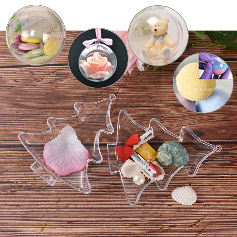 1pcs Christmas Tree Shape Transparent DIY Fizzy Sphere Clear Plastic Bath Bomb Molds Plastic Pendant Hanging Decoration Hot Sale