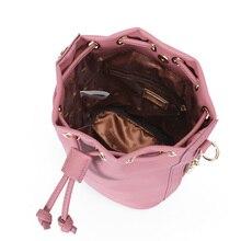 Fashion Bucket Shoulder Bag Women Two Side Zipper Pocket Drawstring Crossbody Bag Female Messenger Bags Ladies Soft Leather Sac