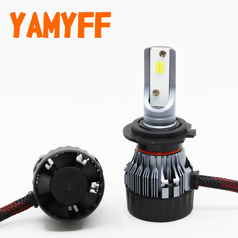 YAMYFF Car Headlight LED H7 Mini Projector Lens LED Bulb H11 H8 with Perfect Cut Line 10000LM Headlamp Auto Fog Light Lamp 12V