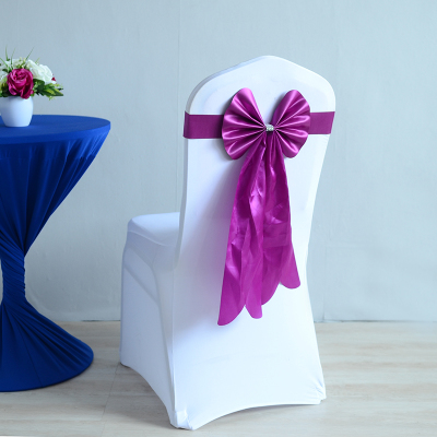 Plum Colour Lycra Chair Sash Long Tail Butterfly Bow Tie Ready Made Sash Spandex Ribbon Wedding Chair Decoration Wholesale