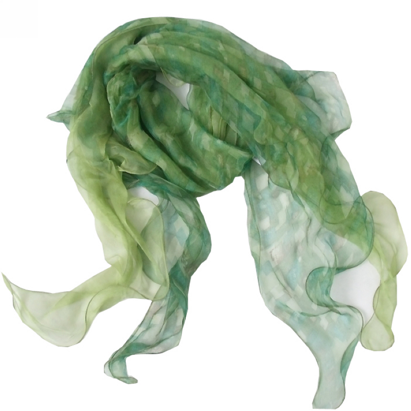 Sweet Scarf Fashion 100% Pure Silk Long Scarf Printed For Women 175*40cm New Design Green Autumn Winter Female Silk Scarf Wraps