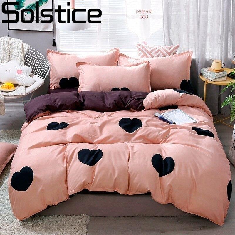 Solstice Luxury Pink Black Love Comforter Bedding Sets Queen Size