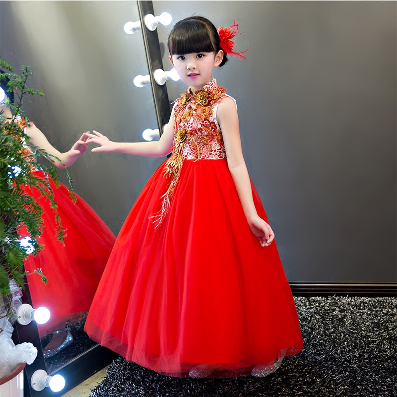 2017 New Arrival China Traditional Girls Luxury Red Embroideried Lace Dress For Wedding Birthday Party Children Costume Dress 2017 new arrival china traditional red