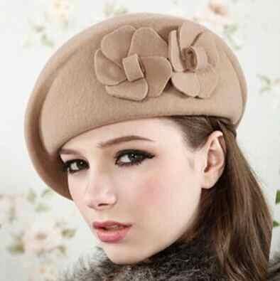 68685cdac47 100% wool beret winter berets women winter felt beret Floral Women Felt  French Beret Beanie
