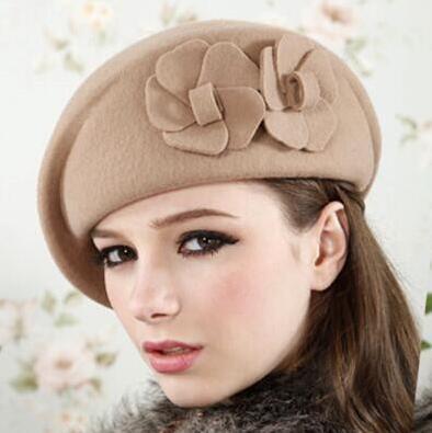 79f2d8fa50662e 100% wool beret winter berets women winter felt beret Floral Women Felt  French Beret Beanie fedora hat Beanie Winter Flower -in Berets from Apparel  ...