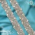 1 YARD Bridal rhinestone applique trim beaded silver crystal glass trim iron on for wedding dress rhinestone applique WDD0272