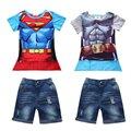 Детей bebes мальчик установленные одежды. жаркое лето Супермен Бэтмен Футболка с мантии + jeanst детские детская одежда