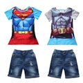 kids bebes boy clothes set . hot Summers Superman Batman T-shirt with mantle + jeanst children's baby clothes