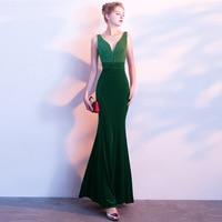 Бархат 2018 Для женщин платья пикантные элегантные Bodycon Русалка одеяние Пром Вечеринка невесты плюс Обёрточная Бумага Большой Размеры платье