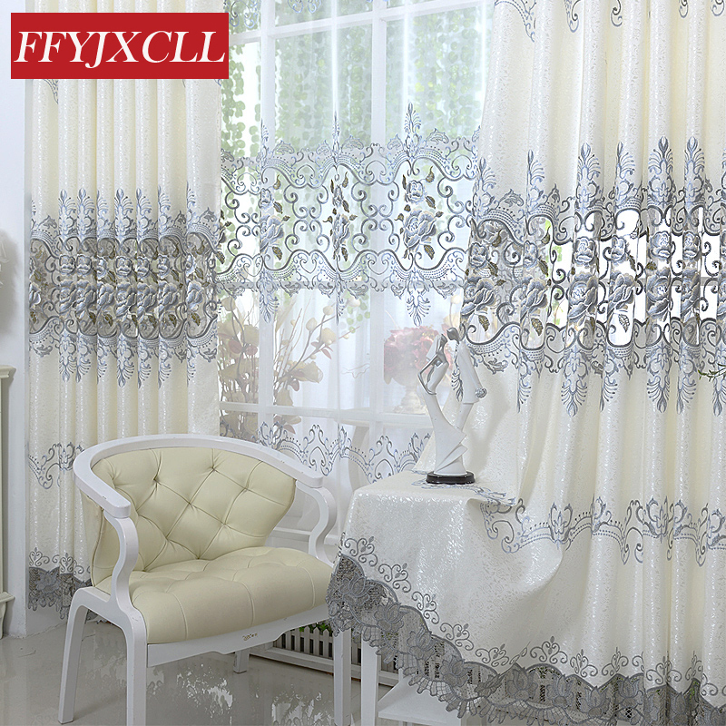 Luxury Europe Embroidered Tulle Window Curtains For living Room Bedroom Blackout Curtains Window Treatment Drapes Home Decor ...