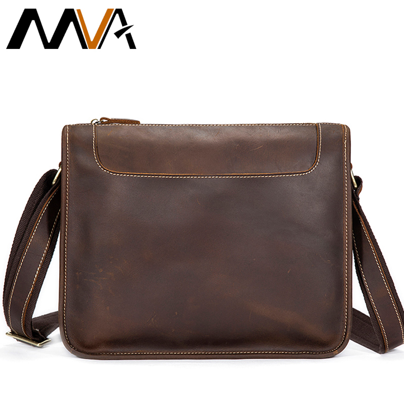 MVA Crazy Horse Genuine Leather Men Bag Men Shoulder Bags Vintage Messenger Crossbody Bags Leather Laptop Bag Male Satchels Tote mva business men s leather briefcase handbag totes vintage laptop bag crazy horse genuine leather men bag male shoulder bags