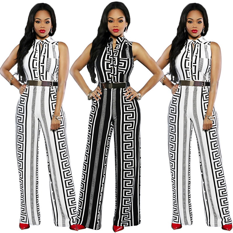 Nuojin Fashion Women Cloth Jumpsuits Striped Printed Elegant Ladies Full Pants Sexy V-Neck Rompers Sashes Loose Casual Jumpsuits