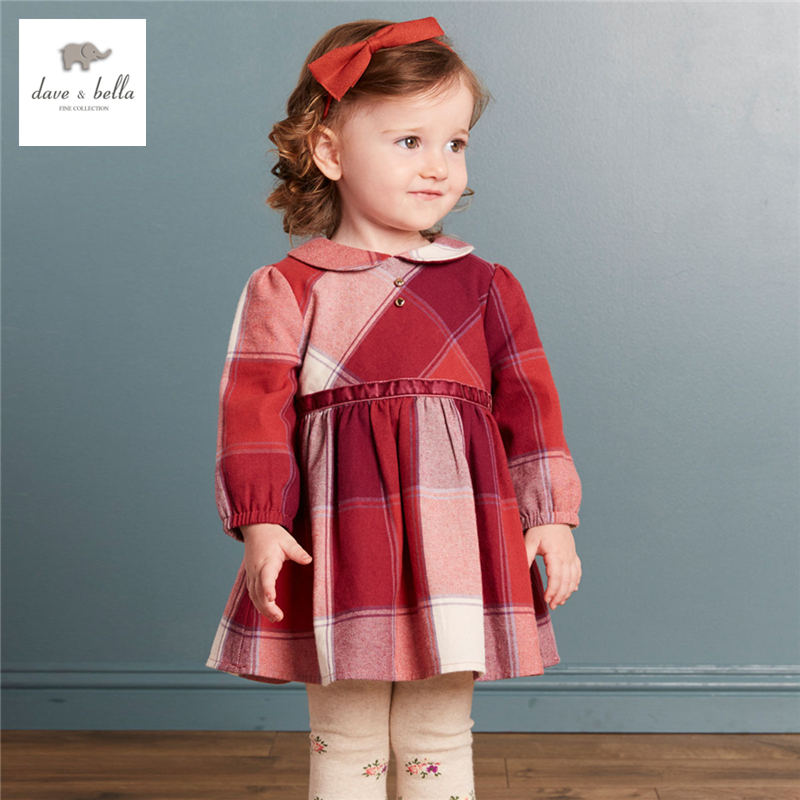 DB3986 dave bella autumn baby girl princess dress baby roll neck dress kids birthday clothes dress kids floral dress costumes orange roll neck casual dress with two side pockets
