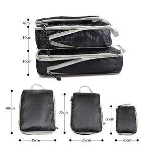 Image 2 - Sac de rangement de voyage de 3 pièces, ensemble de vêtements, organisateur rangé, pochette de valise de garde robe, sac organisateur de voyage, étui, sac demballage Cube de chaussures