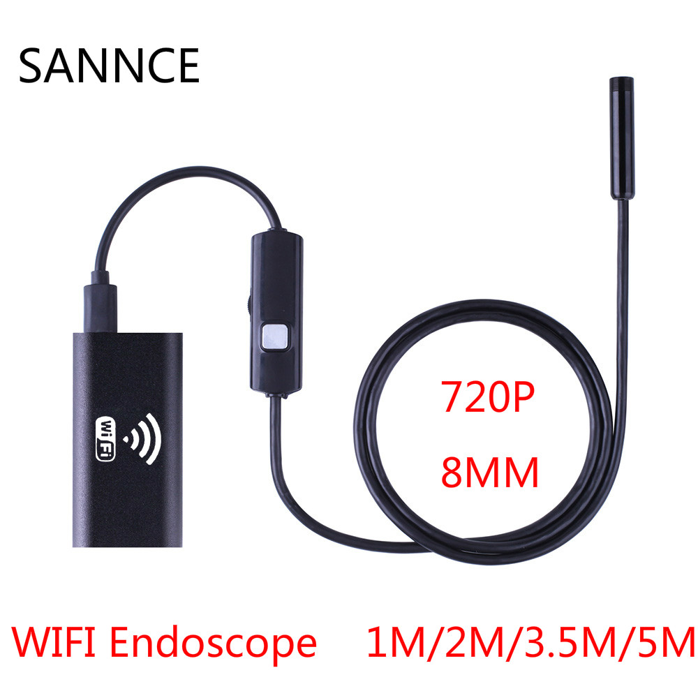 HD 720P 1m 2m 3.5m 5m Wifi Endoscope Camera Android Iphone Borescope Waterproof Camera Endoscopic Android iOS Boroscope Camera 8mm 1m 2m 3 5m wifi ios endoscope camera borescope ip67 waterproof inspection for iphone endoscope android pc hd ip camera