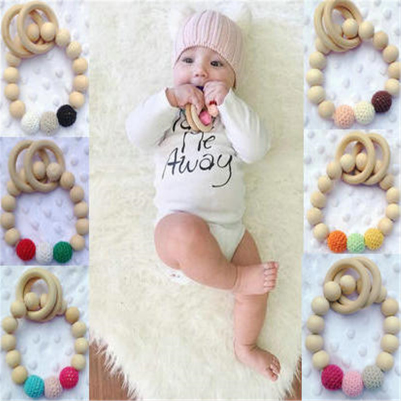 1pc teether Teething Natural Wood Ring Silicone Beads Hand Weave Bracelet Organic Infant Neutral Gift Toys Nursing Baby Teether