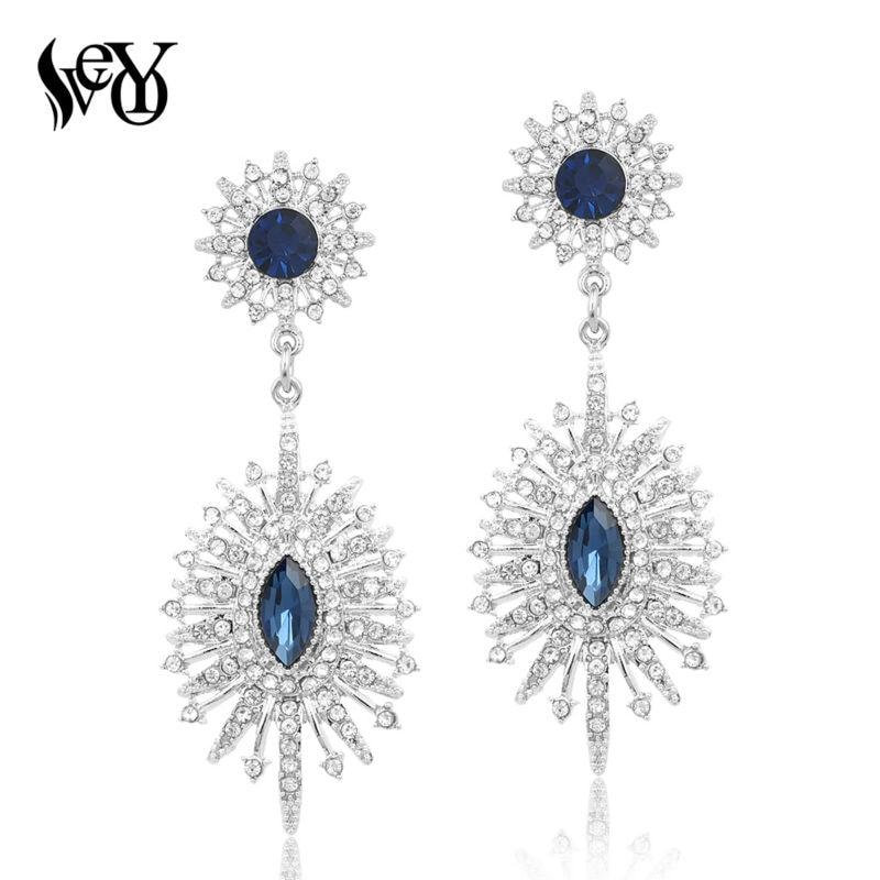 VEYO Berlian Imitasi Anting untuk Wanita Drop Earrings Kristal Anting Klasik Trendy Elegan Kualitas Tinggi Brincos Pendientes