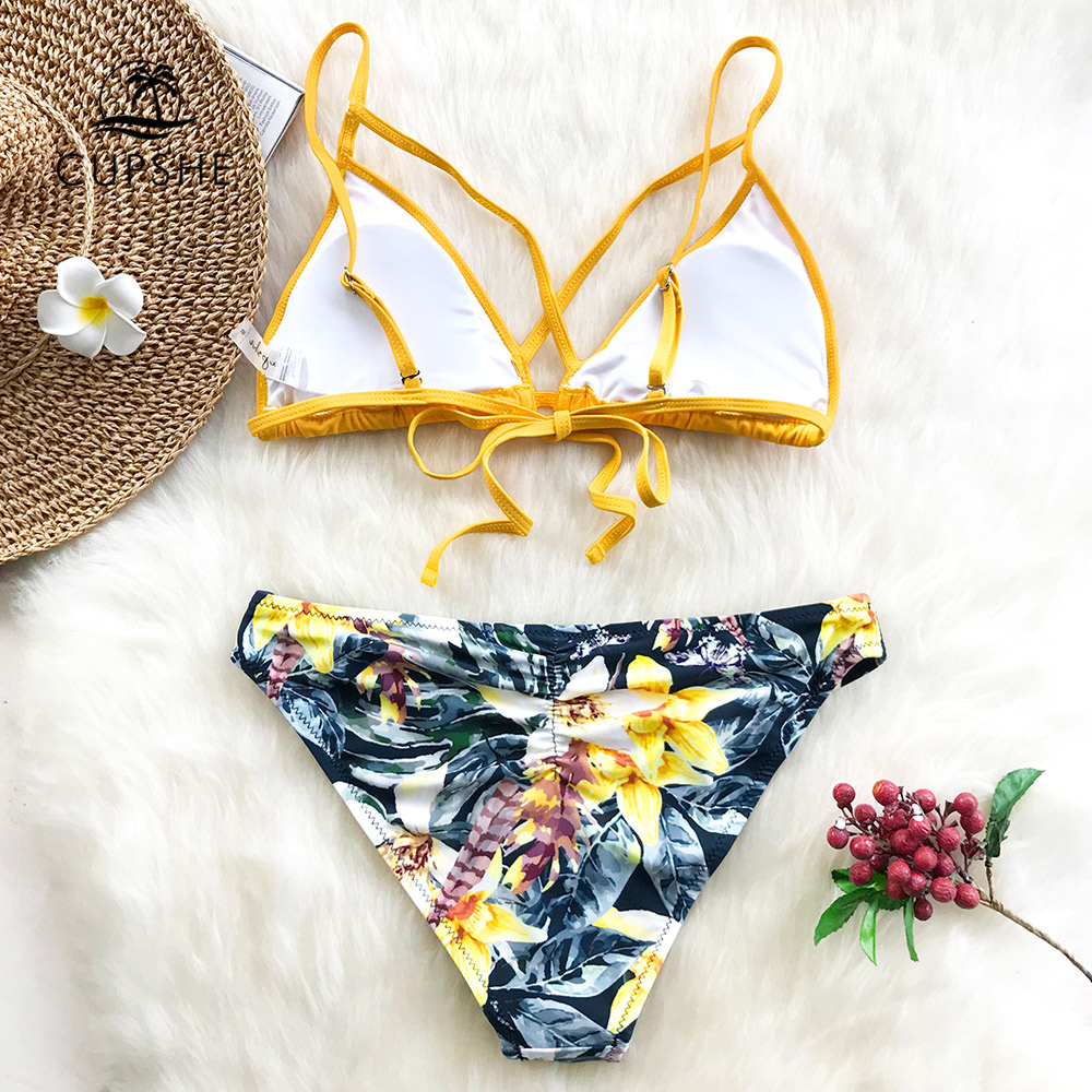 CUPSHE Yellow Floral Print And Solid Cross Bikini Sets Women Heart Neck Backless Two Pieces Swimwear 2020 Sexy Thong Swimsuits 4