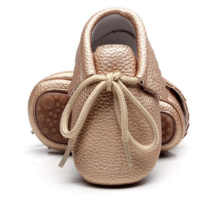 Hongteya PU Leather Baby Moccasins Shoes Solid Lace Up Hard Rubber Sole Baby Shoes Newborn First Walker Infant Shoes