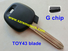 5pcs/lot Free Shipping High quality transponder key G chip TOY43 blade Fit For Toyota transponder key G chip key