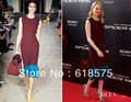 Unique Jewel Dark Red Blue Sleeveless Emma Roberts Tea Length Evening Dress