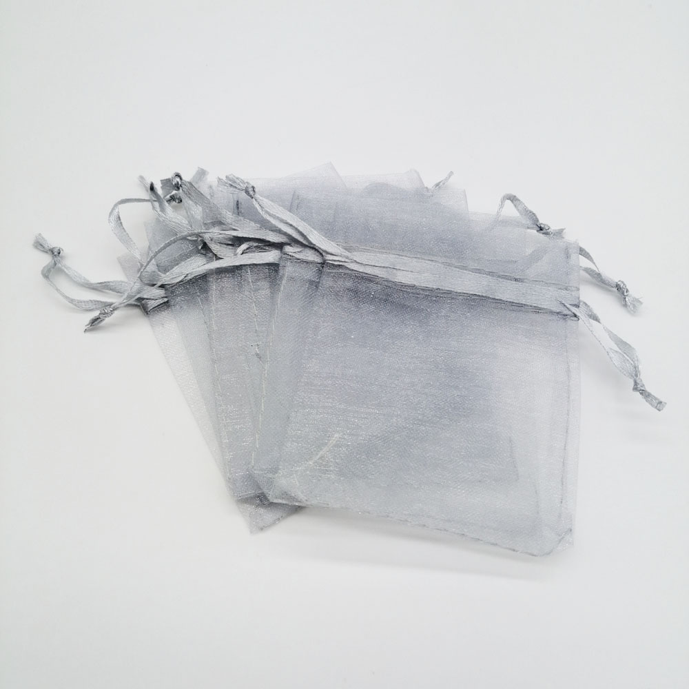100pcs Organza Bags Gray Small Organza Gift Bags For Jewelry Packaging Display Christmas Wedding Jewelry Storage Drawstring Bag