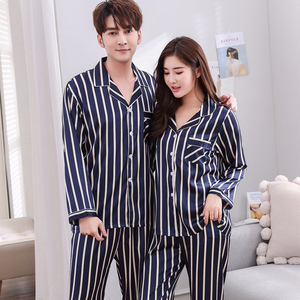 Image 2 - BZEL Couple Pajama Sets Silk Satin Pijamas Striped Sleepwear His and her Home Suit Pyjama For Lover Man Woman Lovers Clothes