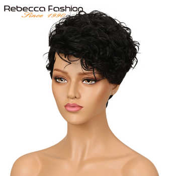 Rebecca Short Wavy Wig Brazilian Remy Human Hair Wigs For Women Brown Red Wine 10 Colors Choice Free Shipping