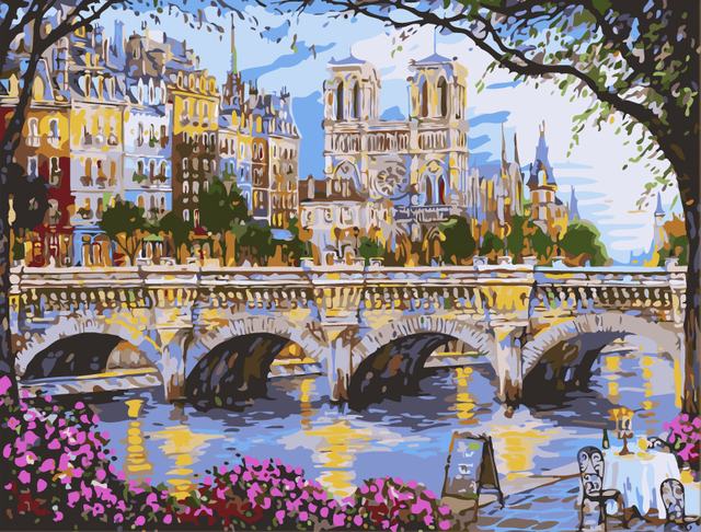 Toko Online Frameless Landscape Jembatan Diy Mewarnai Lukisan Minyak Nomor