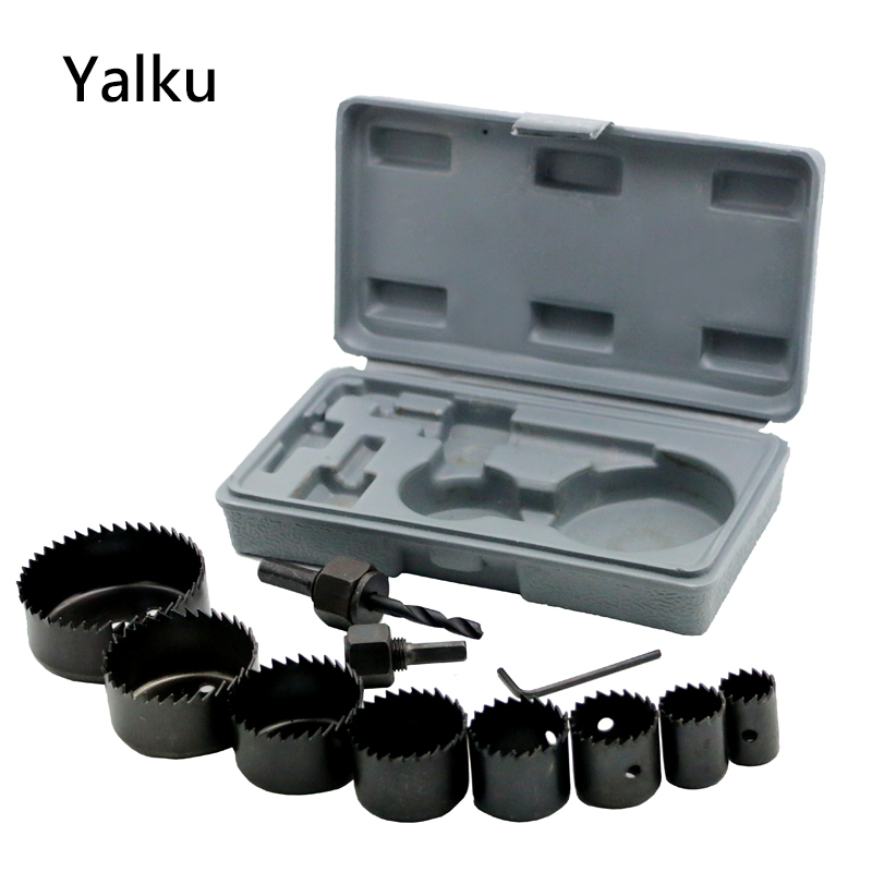 Yalku Metal Drill Hole Saw Kit Set 11PC DIY Hole Saw Bit Cutting Set Kit 19-64mm Wood Sheet Metal Alloys Wood Metal Sheet Alloy new 50mm concrete cement wall hole saw set with drill bit 200mm rod wrench for power tool