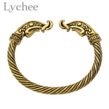 Lychee Vintage Viking Dragon Bracelet Bangle Antique Gold Color Cuff Bangle Jewelry for Men Women