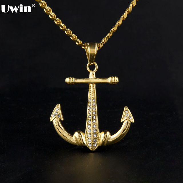 Mens stainless steel pendant necklace gold tone anchor nautical mens stainless steel pendant necklace gold tone anchor nautical steering wheel jesus christ crucifix cross with mozeypictures Choice Image