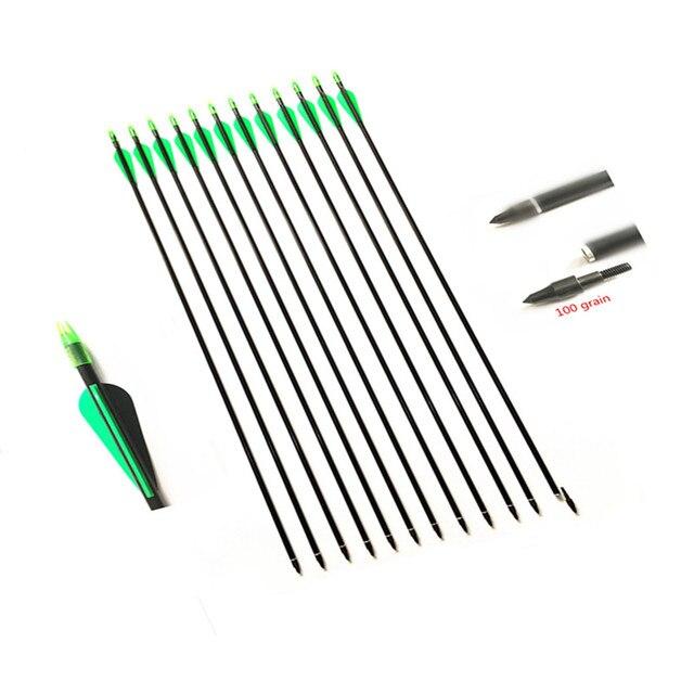 6/12/24 adet 32 inç fiberglas ok 30/40LBS ile olimpik yay değiştirilebilir Arrowhead Longbow avcılık için okçuluk